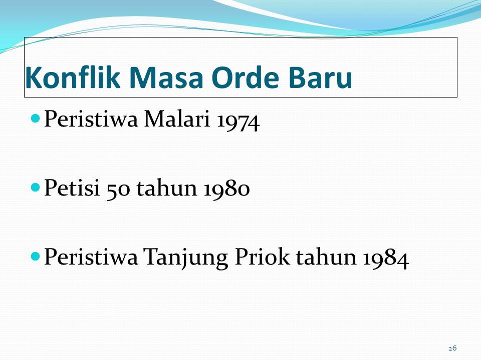 Konflik Masa Orde Baru Peristiwa Malari 1974 Petisi 50 tahun 1980