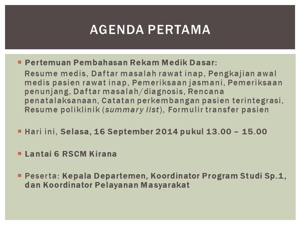 Agenda pertama Pertemuan Pembahasan Rekam Medik Dasar: