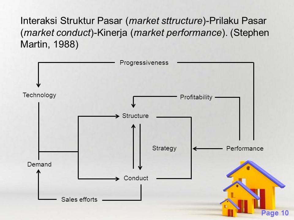 Interaksi Struktur Pasar (market sttructure)-Prilaku Pasar (market conduct)-Kinerja (market performance). (Stephen Martin, 1988)