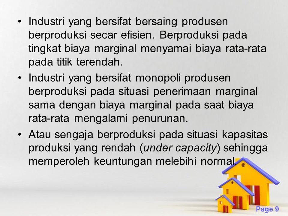 Industri yang bersifat bersaing produsen berproduksi secar efisien