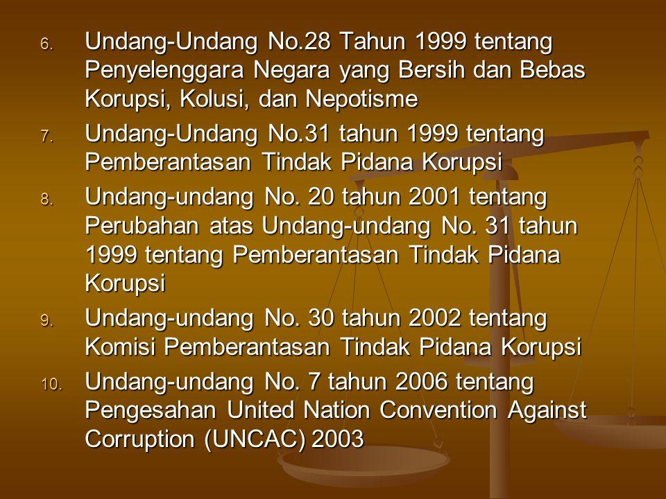 Undang-Undang No.28 Tahun 1999 tentang Penyelenggara Negara yang Bersih dan Bebas Korupsi, Kolusi, dan Nepotisme