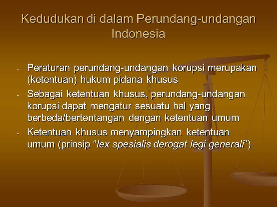 Kedudukan di dalam Perundang-undangan Indonesia