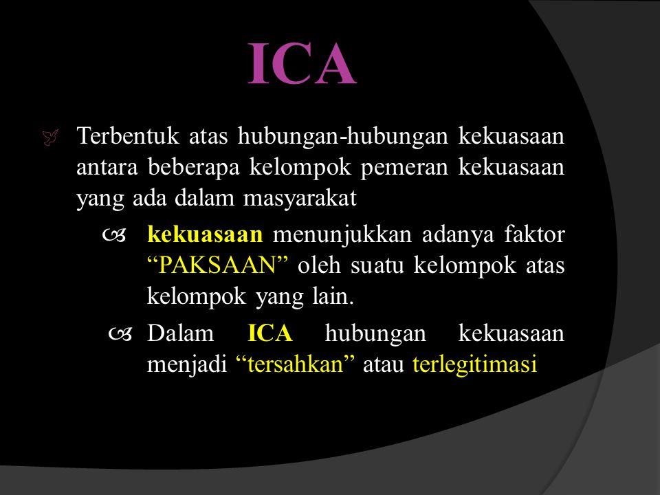 ICA Terbentuk atas hubungan-hubungan kekuasaan antara beberapa kelompok pemeran kekuasaan yang ada dalam masyarakat.