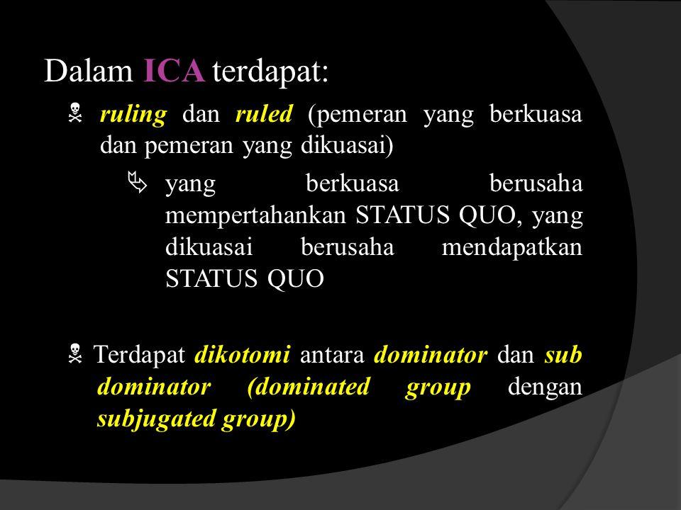 Dalam ICA terdapat:  ruling dan ruled (pemeran yang berkuasa dan pemeran yang dikuasai)