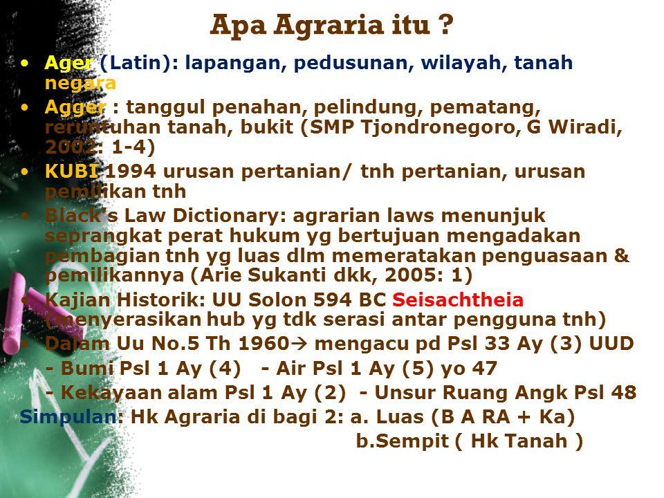 Apa Agraria itu Ager (Latin): lapangan, pedusunan, wilayah, tanah negara.