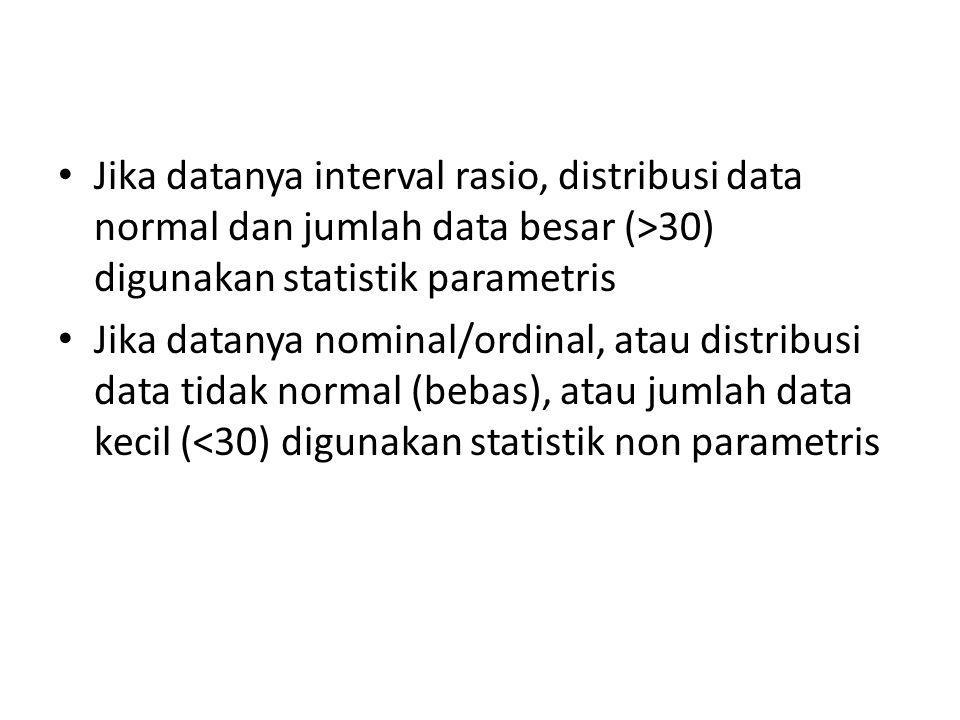Jika datanya interval rasio, distribusi data normal dan jumlah data besar (>30) digunakan statistik parametris