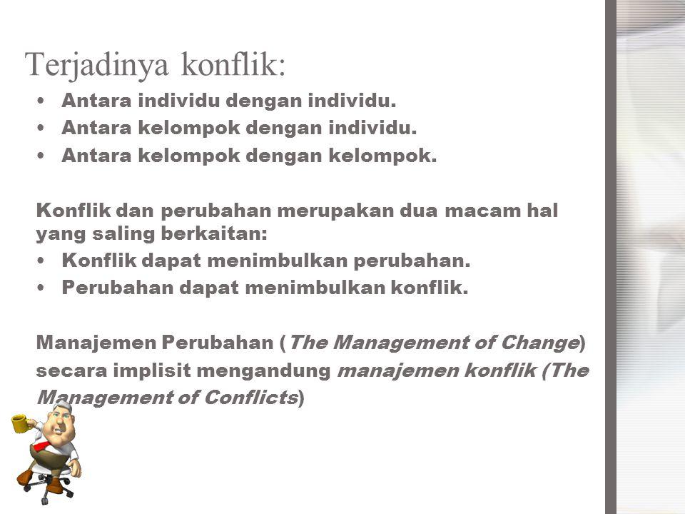 Terjadinya konflik: Antara individu dengan individu.