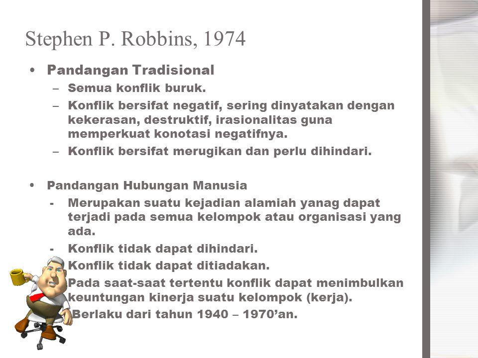 Stephen P. Robbins, 1974 Pandangan Tradisional Semua konflik buruk.