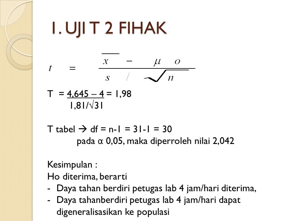 1. UJI T 2 FIHAK T = 4,645 – 4 = 1,98. 1,81/√31. T tabel  df = n-1 = 31-1 = 30. pada α 0,05, maka diperroleh nilai 2,042.