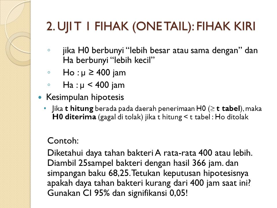 2. UJI T 1 FIHAK (ONE TAIL): FIHAK KIRI