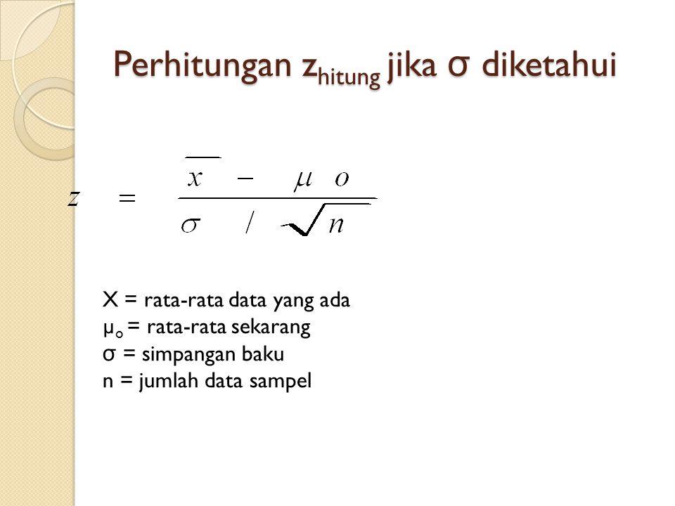 Perhitungan zhitung jika σ diketahui