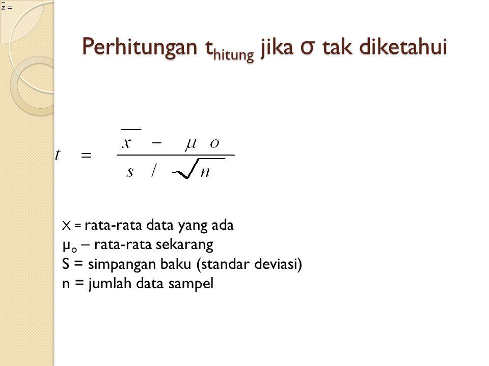 Perhitungan thitung jika σ tak diketahui