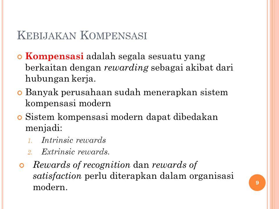 Kebijakan Kompensasi Kompensasi adalah segala sesuatu yang berkaitan dengan rewarding sebagai akibat dari hubungan kerja.