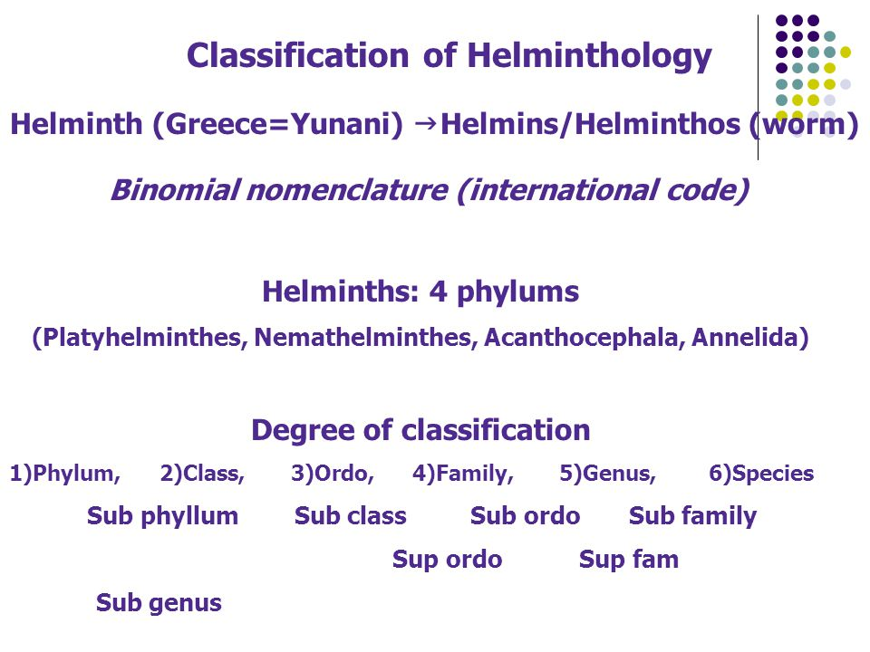 Classification of Helminthology