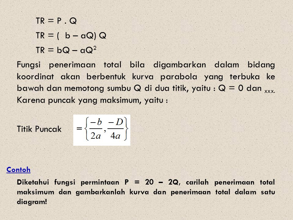 TR = P . Q TR = ( b – aQ) Q. TR = bQ – aQ2.