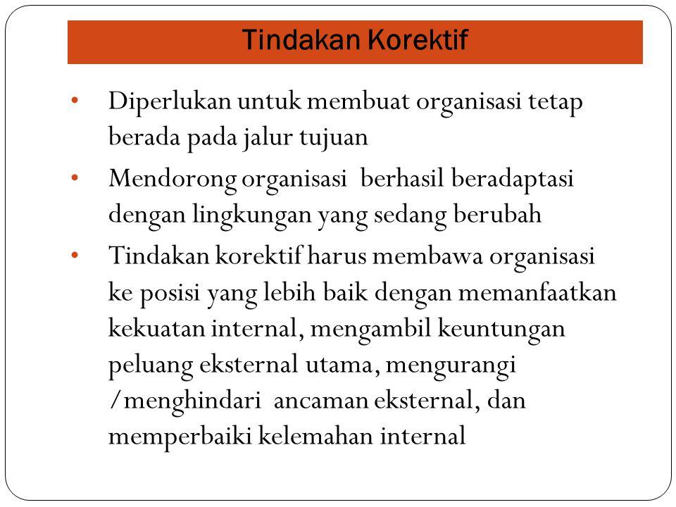 Tindakan Korektif Diperlukan untuk membuat organisasi tetap berada pada jalur tujuan.