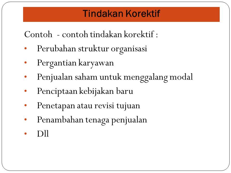 Tindakan Korektif Contoh - contoh tindakan korektif : Perubahan struktur organisasi. Pergantian karyawan.