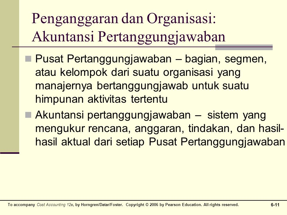 Penganggaran dan Organisasi: Akuntansi Pertanggungjawaban