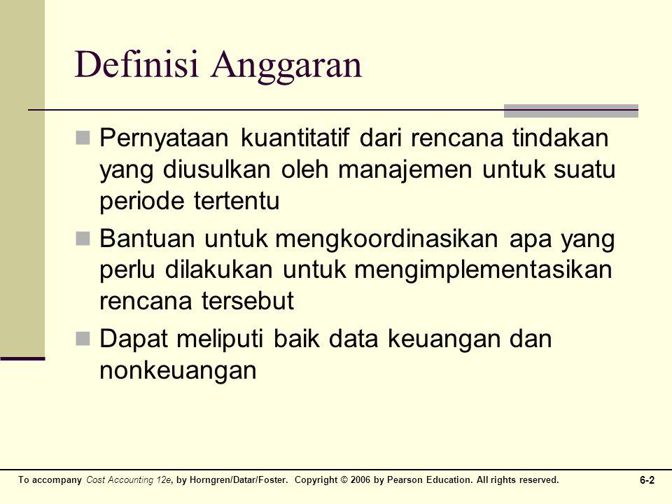 Definisi Anggaran Pernyataan kuantitatif dari rencana tindakan yang diusulkan oleh manajemen untuk suatu periode tertentu.