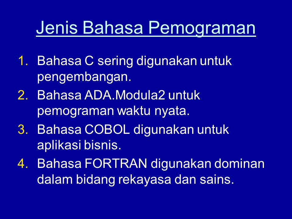 Jenis Bahasa Pemograman