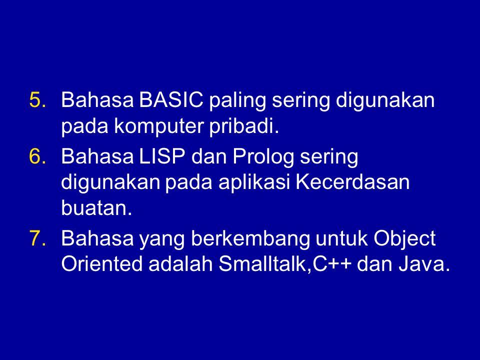 Bahasa BASIC paling sering digunakan pada komputer pribadi.