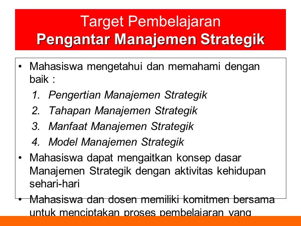 Target Pembelajaran Pengantar Manajemen Strategik