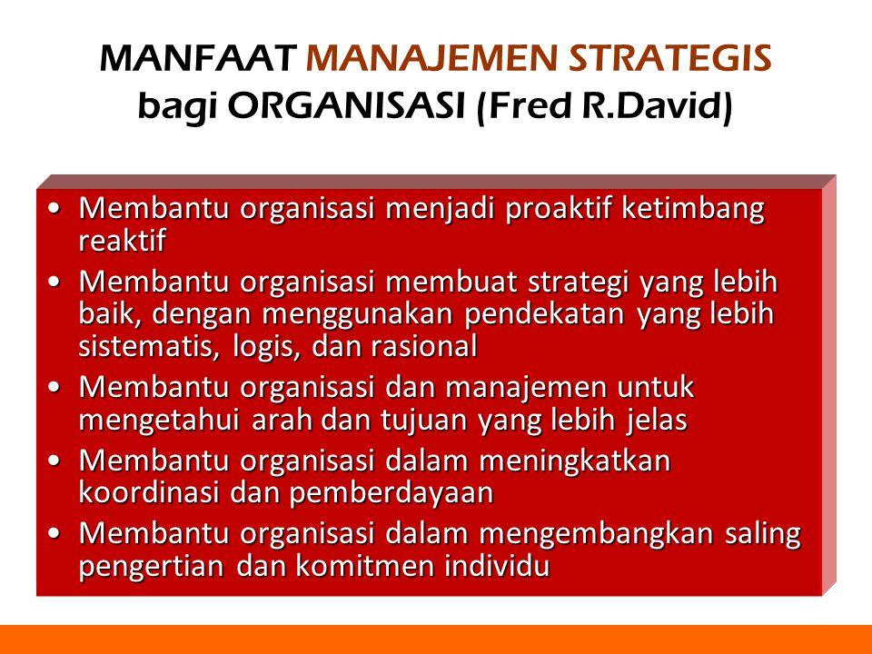 MANFAAT MANAJEMEN STRATEGIS bagi ORGANISASI (Fred R.David)
