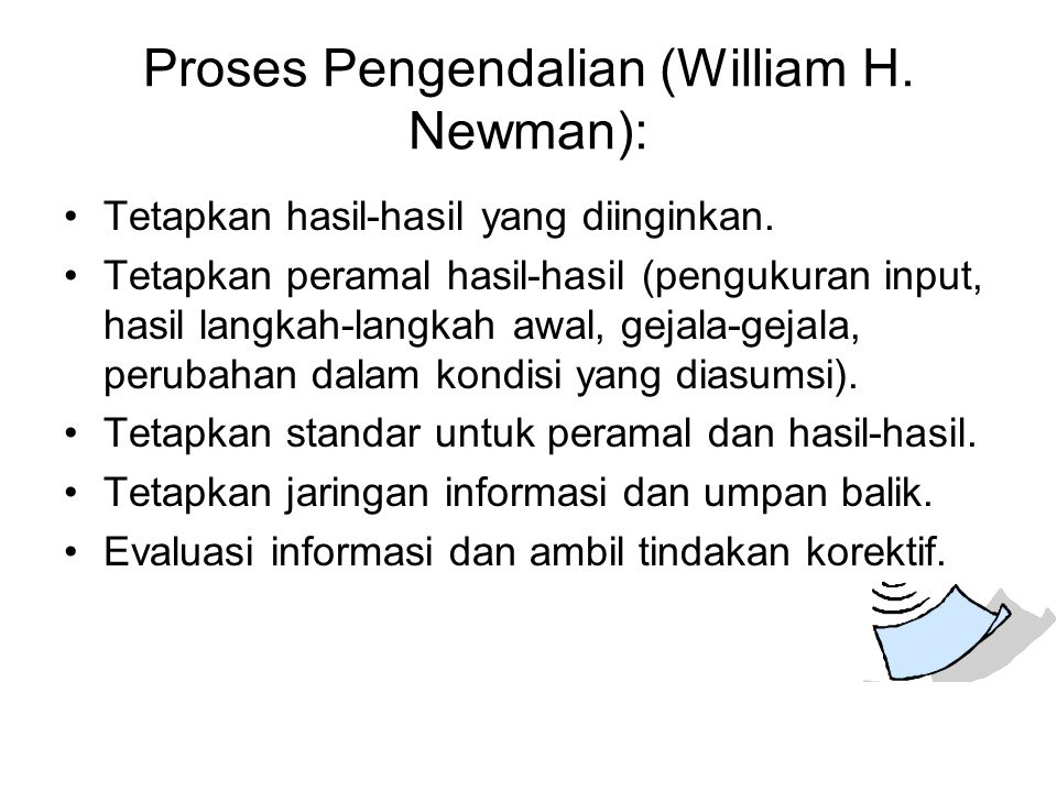 Proses Pengendalian (William H. Newman):