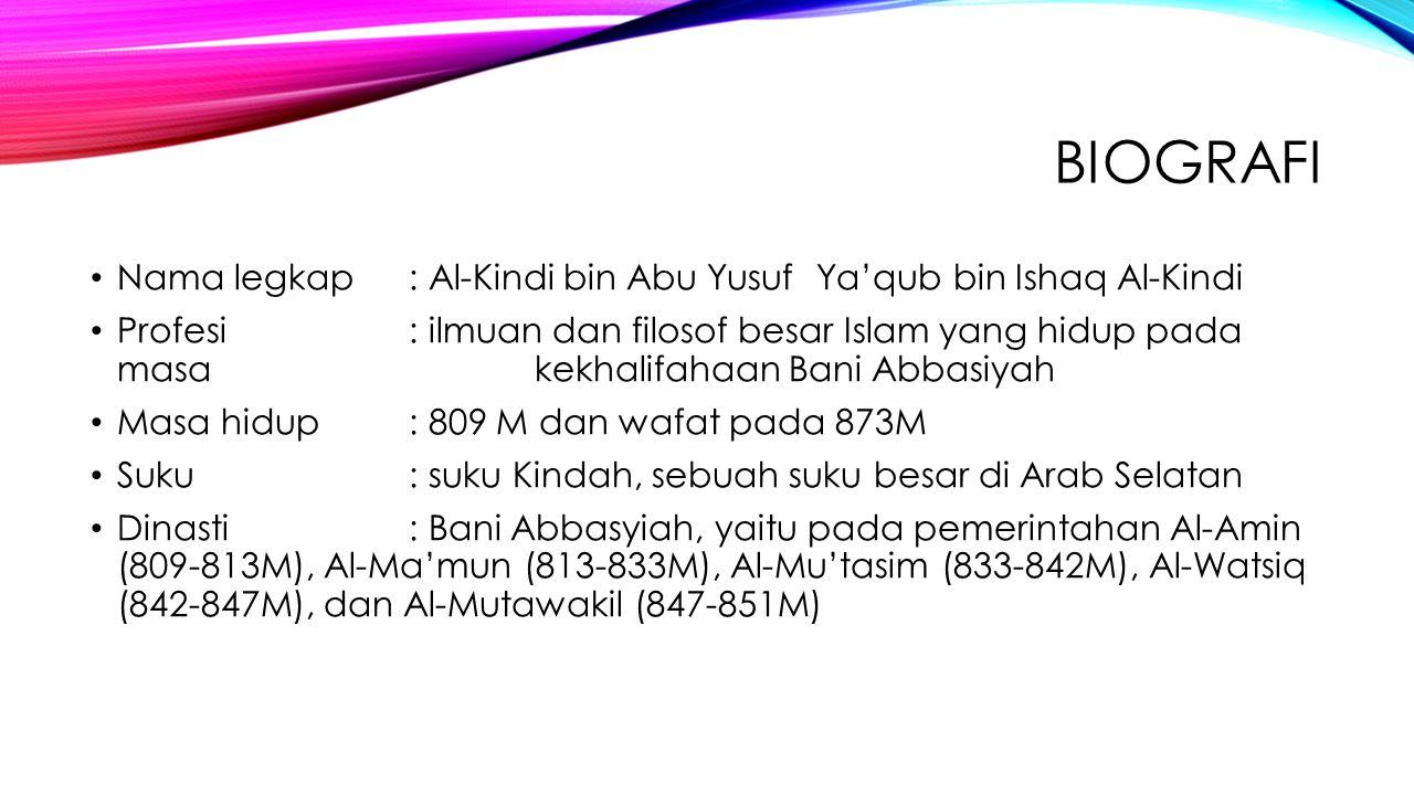 biografi Nama legkap : Al-Kindi bin Abu Yusuf Ya'qub bin Ishaq Al-Kindi.