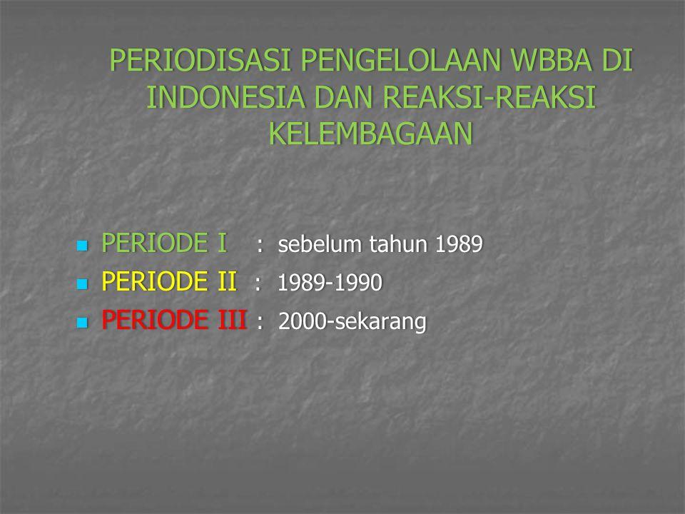 PERIODISASI PENGELOLAAN WBBA DI INDONESIA DAN REAKSI-REAKSI KELEMBAGAAN