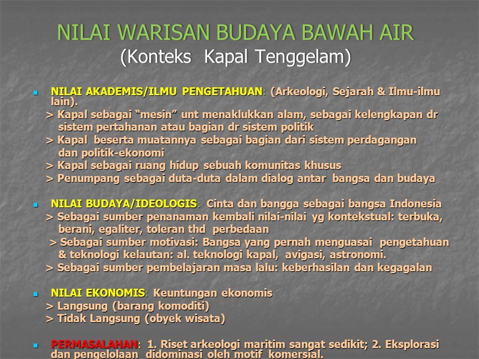 NILAI WARISAN BUDAYA BAWAH AIR (Konteks Kapal Tenggelam)
