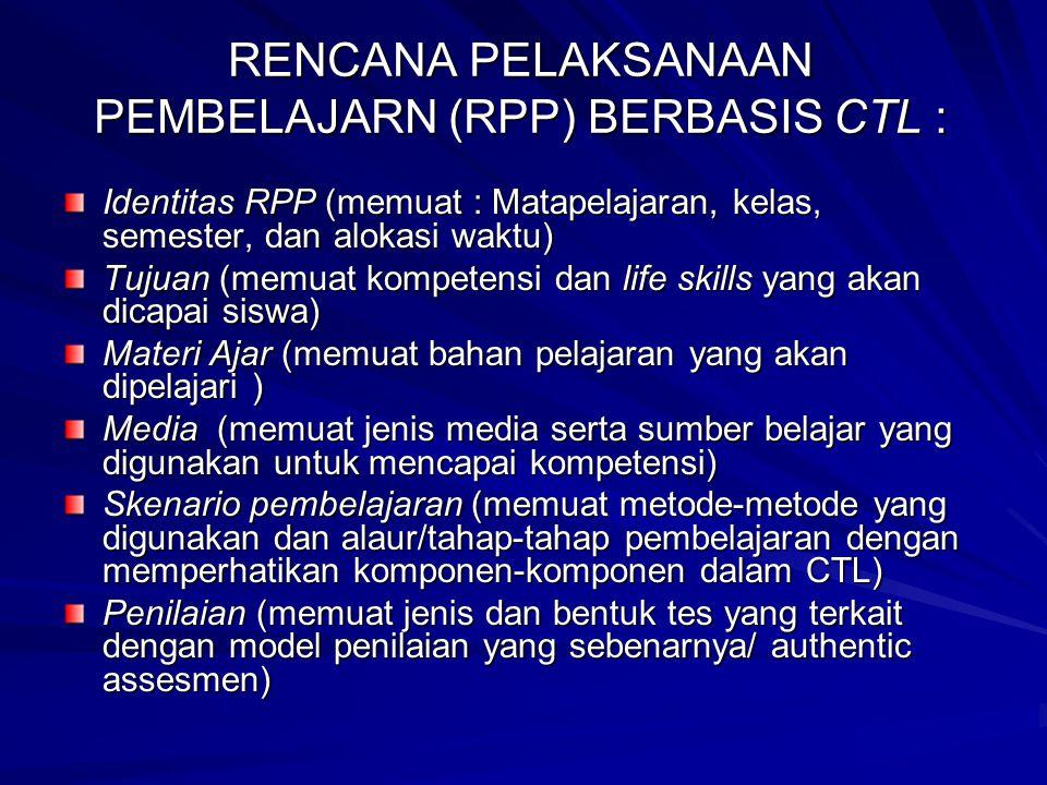 RENCANA PELAKSANAAN PEMBELAJARN (RPP) BERBASIS CTL :