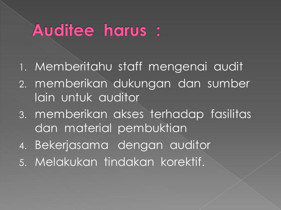 Auditee harus : Memberitahu staff mengenai audit