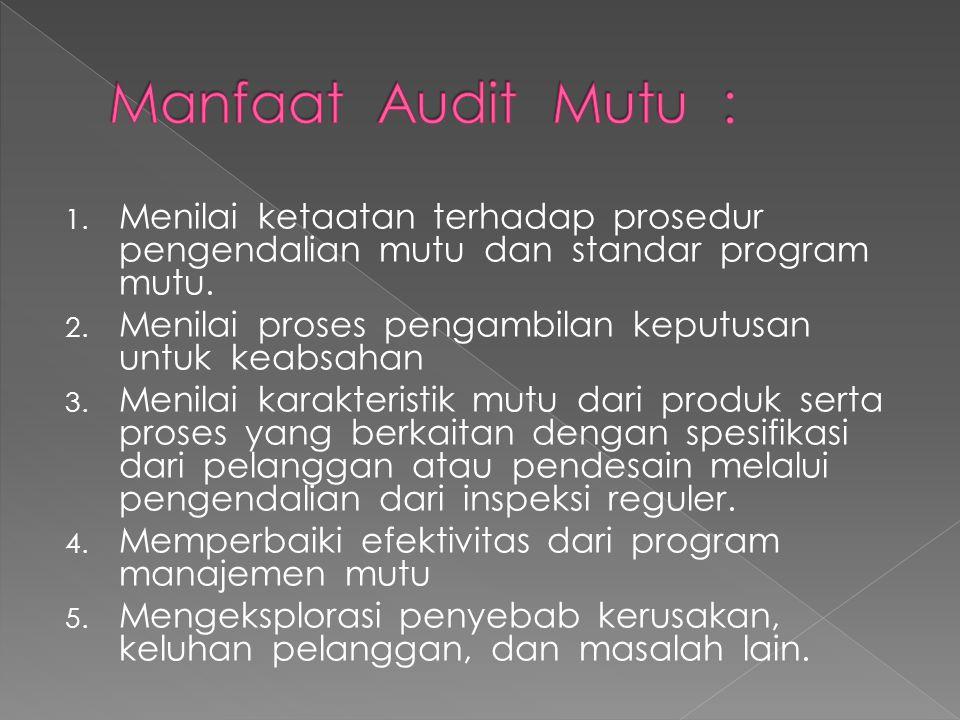 Manfaat Audit Mutu : Menilai ketaatan terhadap prosedur pengendalian mutu dan standar program mutu.
