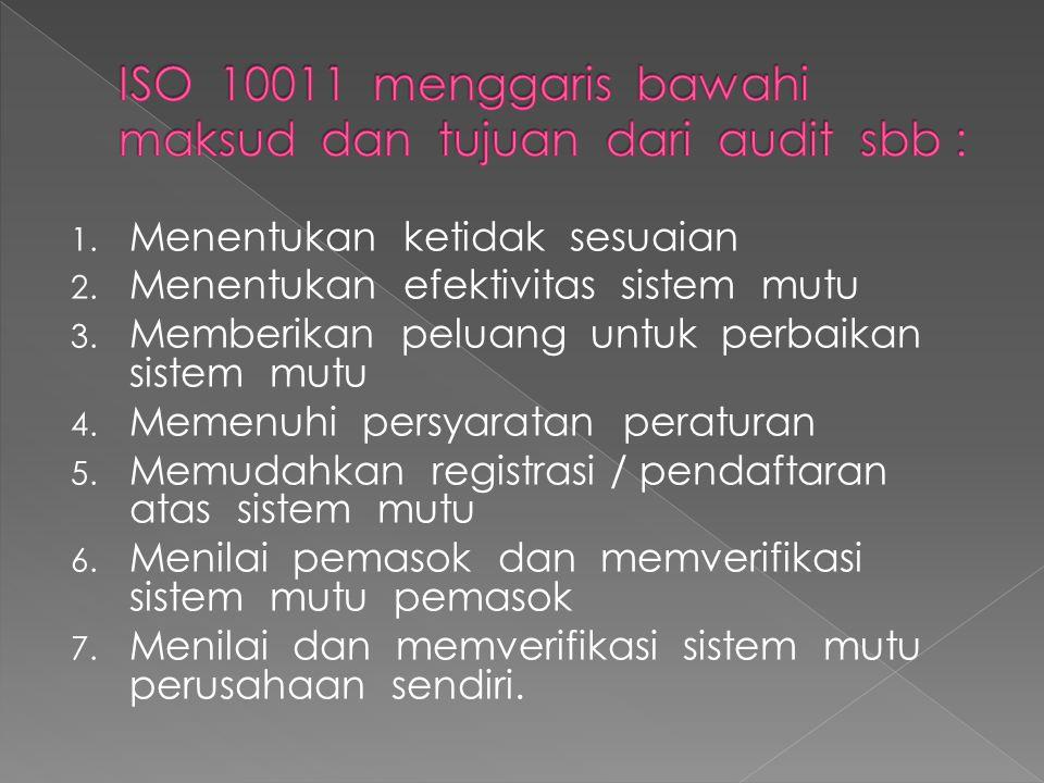 ISO 10011 menggaris bawahi maksud dan tujuan dari audit sbb :
