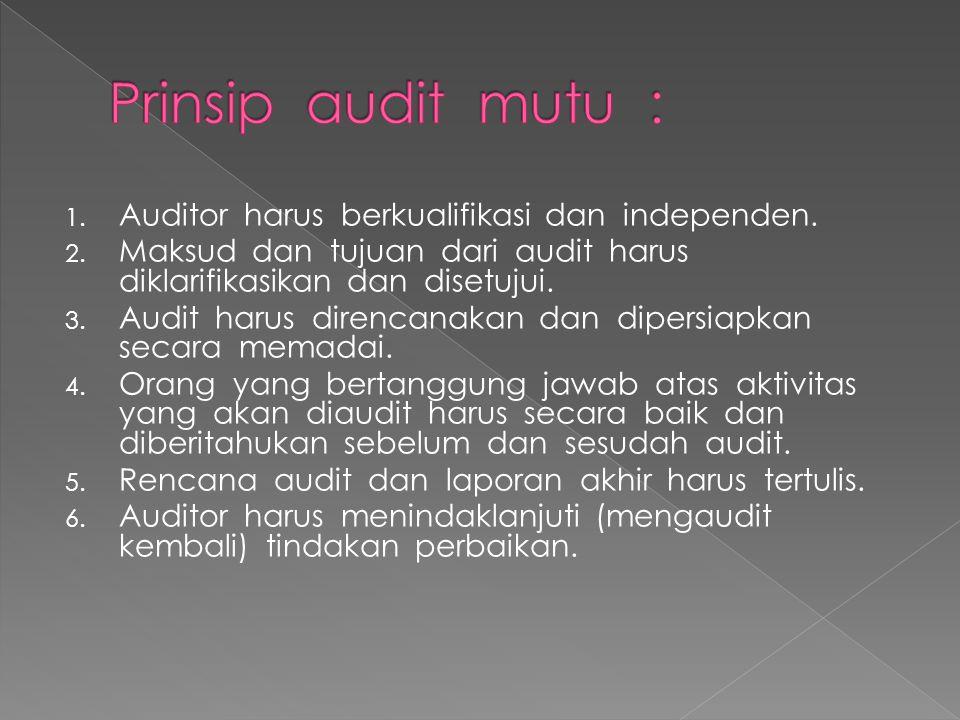 Prinsip audit mutu : Auditor harus berkualifikasi dan independen.