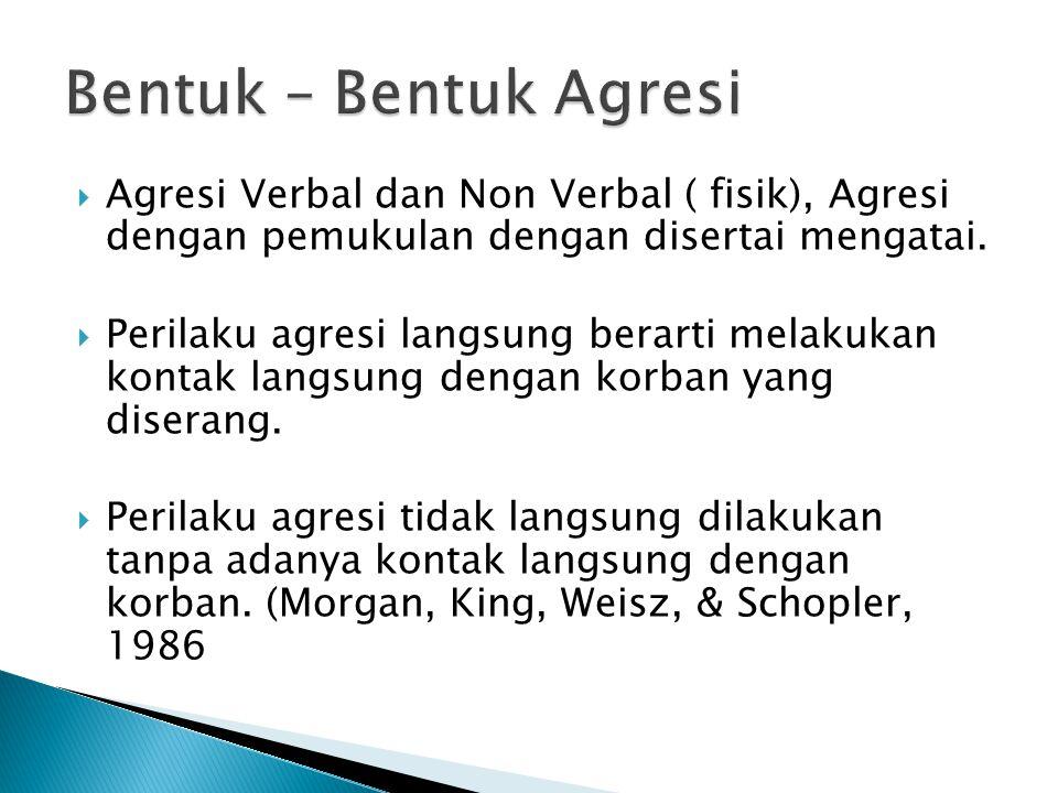Bentuk – Bentuk Agresi Agresi Verbal dan Non Verbal ( fisik), Agresi dengan pemukulan dengan disertai mengatai.
