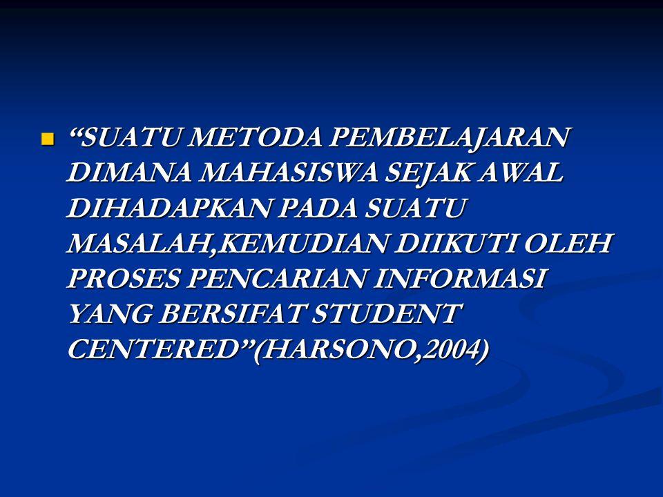 SUATU METODA PEMBELAJARAN DIMANA MAHASISWA SEJAK AWAL DIHADAPKAN PADA SUATU MASALAH,KEMUDIAN DIIKUTI OLEH PROSES PENCARIAN INFORMASI YANG BERSIFAT STUDENT CENTERED (HARSONO,2004)