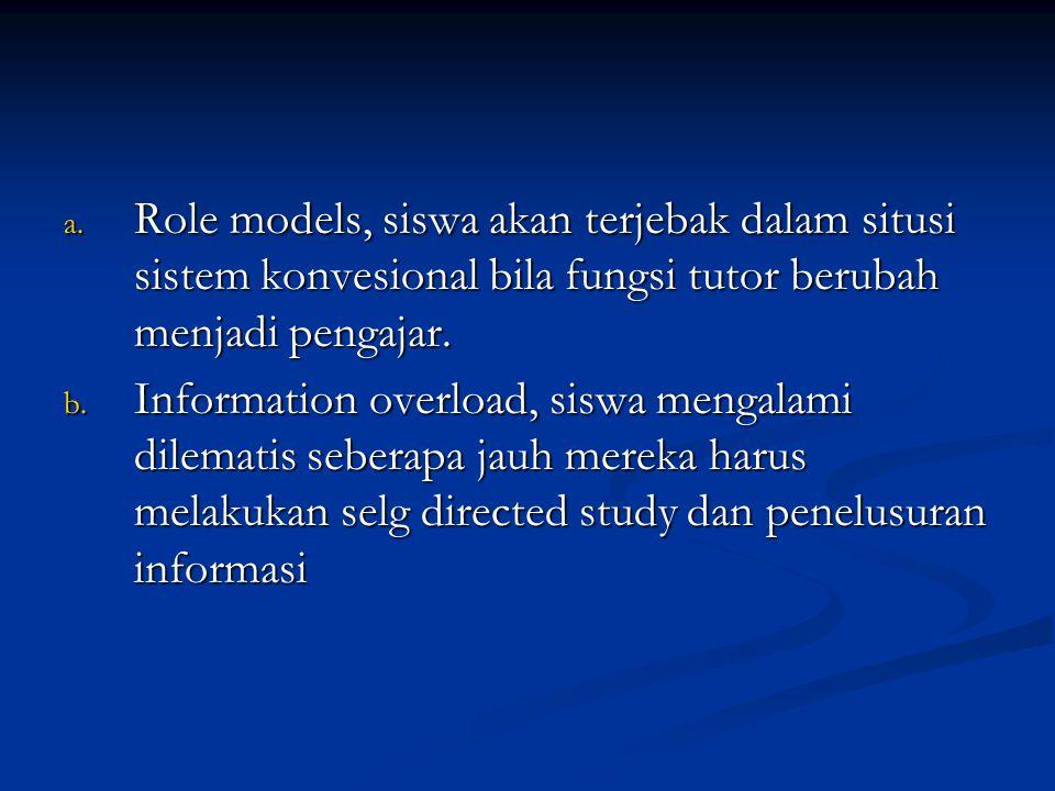 Role models, siswa akan terjebak dalam situsi sistem konvesional bila fungsi tutor berubah menjadi pengajar.