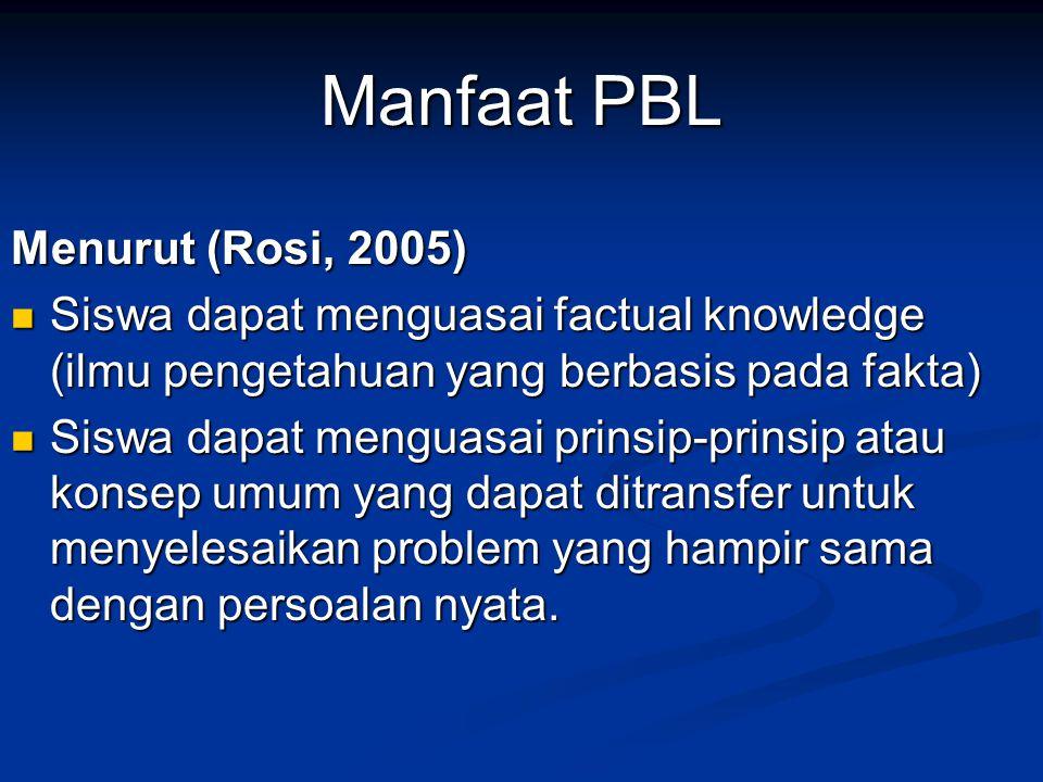 Manfaat PBL Menurut (Rosi, 2005)