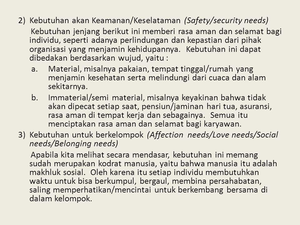 Kebutuhan akan Keamanan/Keselataman (Safety/security needs)