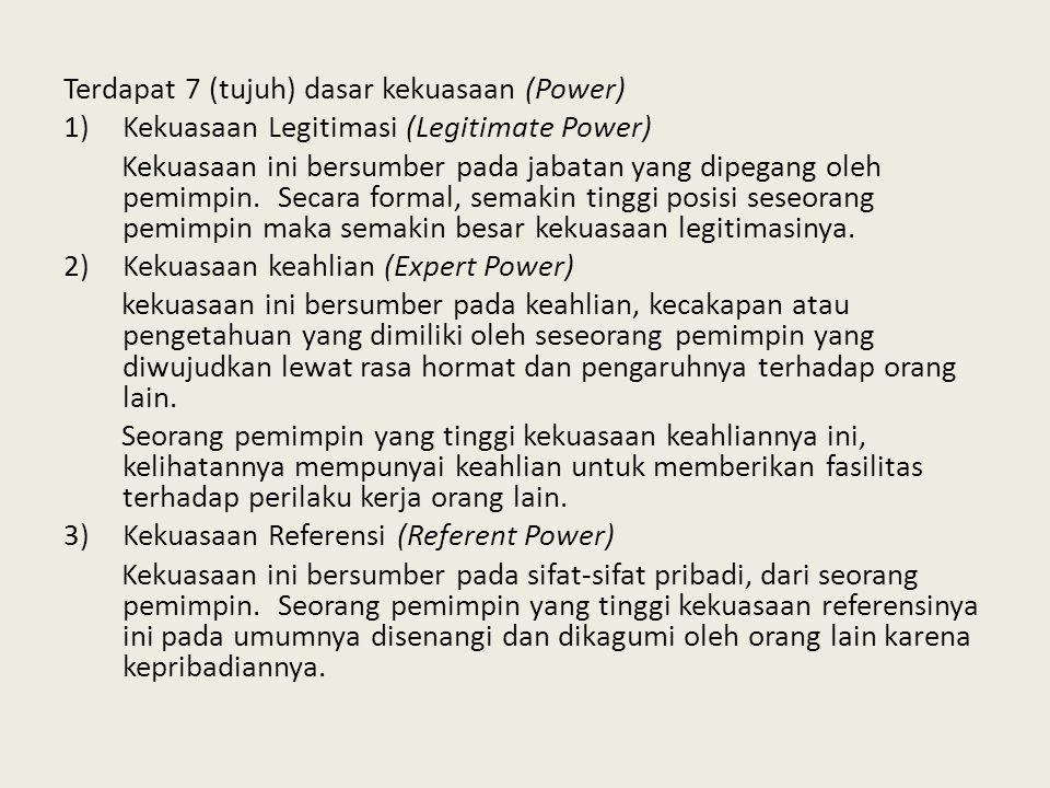 Terdapat 7 (tujuh) dasar kekuasaan (Power)