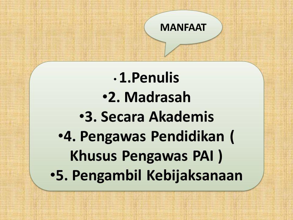 4. Pengawas Pendidikan ( Khusus Pengawas PAI )