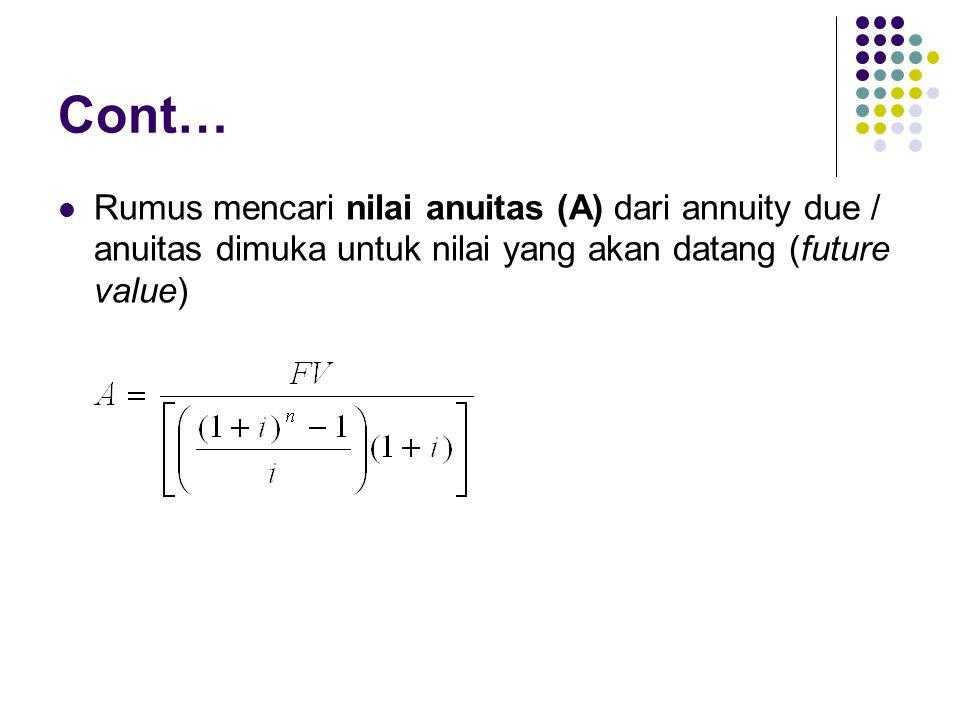Cont… Rumus mencari nilai anuitas (A) dari annuity due / anuitas dimuka untuk nilai yang akan datang (future value)