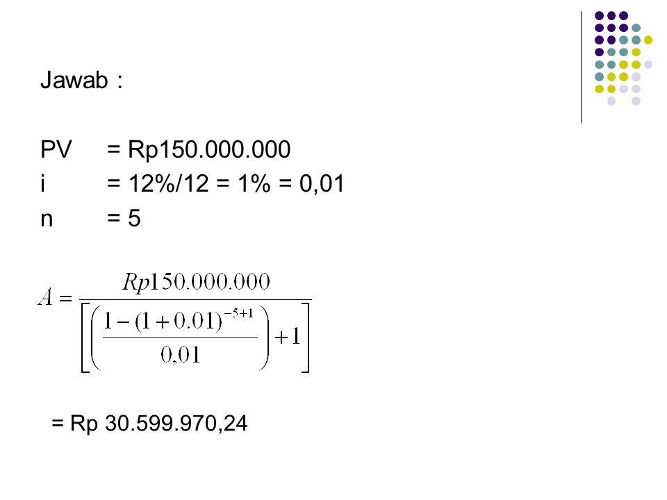 Jawab : PV = Rp150.000.000 i = 12%/12 = 1% = 0,01 n = 5