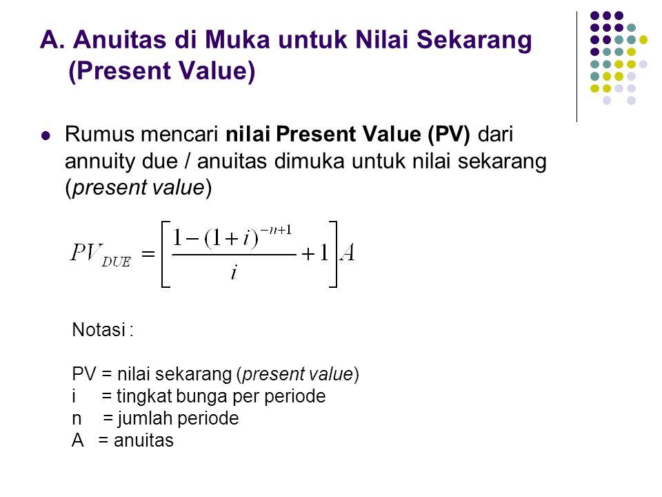 A. Anuitas di Muka untuk Nilai Sekarang (Present Value)