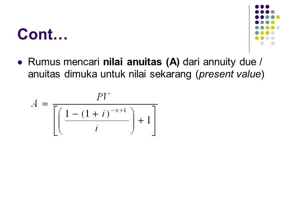 Cont… Rumus mencari nilai anuitas (A) dari annuity due / anuitas dimuka untuk nilai sekarang (present value)