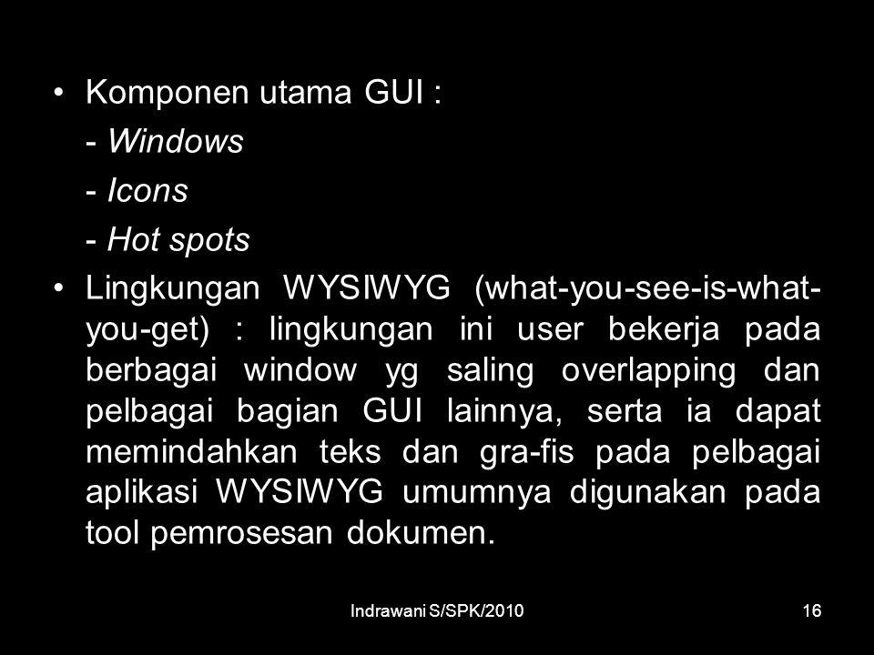 Komponen utama GUI : - Windows - Icons - Hot spots
