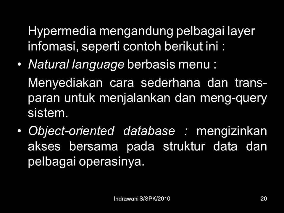 Natural language berbasis menu :
