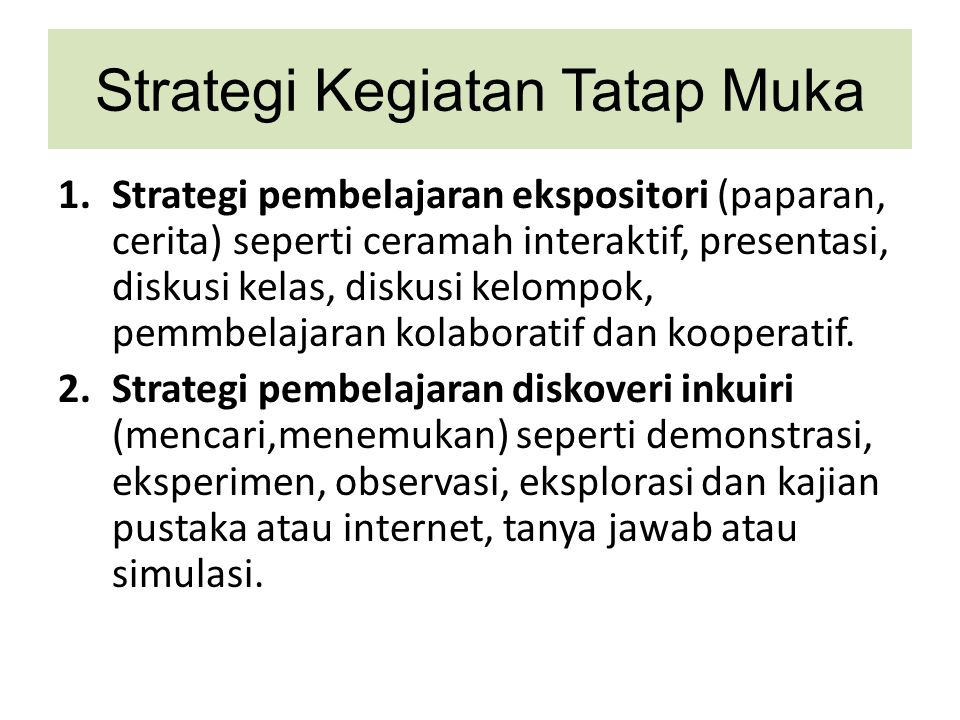 Strategi Kegiatan Tatap Muka